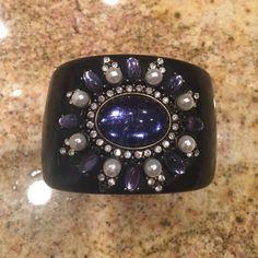 Black with Blue rhinestone cuff bracelet Beautiful blue rhinestone with pearl .... Black cuff bracelet Jewelry Bracelets
