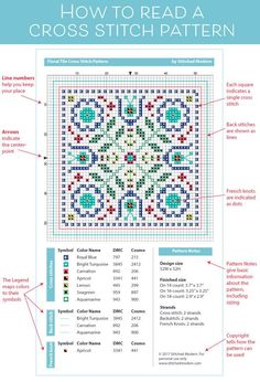 Embroidery Cross Stitches A great reference for beginners. How to read a cross stitch pattern chart. - Cross stitch charts tell you everything you need to know about a cross stitch pattern. Learn how to read them and understand the basic elements of a. Cross Stitch Bookmarks, Counted Cross Stitch Patterns, Cross Stitch Charts, Cross Stitch Designs, Cross Stitch Embroidery, Cross Stitch How To, Biscornu Cross Stitch, Modern Cross Stitch Patterns, Ribbon Embroidery