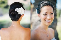 Makeup & Hair by Liz at http://skyla-arts.com  A classic chignon with texture on the side!) & natural makeup  Melody & Young {Sunol Valley Club Wedding} | Skyla Arts  photo: Jerry Yoon Photographers