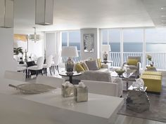 Crisp design by Interiors By SBI doesn't take any attention away from beachfront views.
