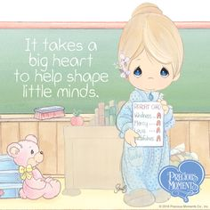It takes a big heart to help shape little minds. Precious Moments Quotes, Precious Moments Coloring Pages, Precious Moments Figurines, Moment Quotes, Framed Quotes, My Precious, Coloring Book Pages, Strong Quotes, Watercolor Illustration