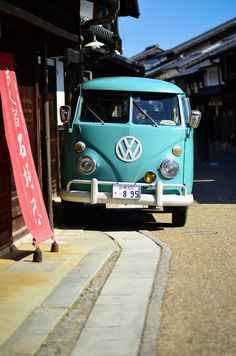 Vintage VW Van in Japan, visiting and old, preserved town was so interesting, I saw old and modern fused together.