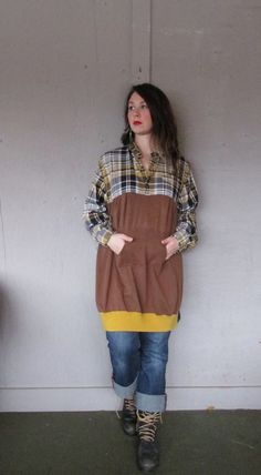 XLarge 1X oversize upcycled tunic dress / upcycled clothing / Artsy dress / Funky dress /Patchwork tunic Eco dress by LillieNoraDryGoods
