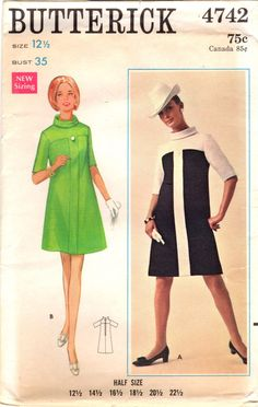 468d398ecfd années 1960 non Butterick 4742 coupe Vintage couture patron Misses a-ligne