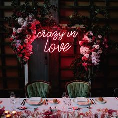 Crazy in Love Neon Light Wedding Sign | Pink & Red Flowers | Romantic