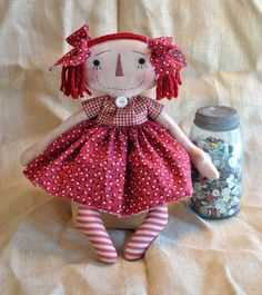 Primitive Raggedy Annie doll prim red dress by ahlcoopedup on Etsy, $29.95