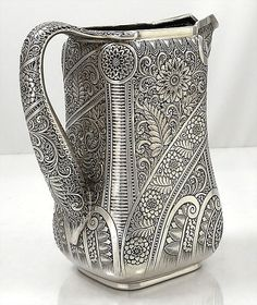 Tiffany antique sterling Indian style pitcher circa 1880