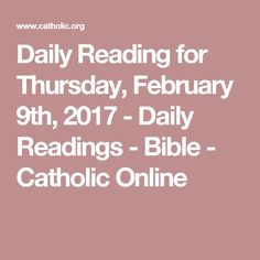 Daily Reading for Sunday, January 2017 - Daily Readings - Bible - Catholic Online