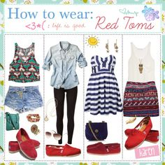 """How to wear: Red Toms!!"" by everygirlhasatip on Polyvore -I love the 2nd outfit-"