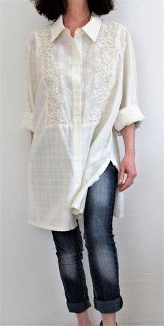 Coldwater Creek Cotton Linen Button Down Damask Bib Front Tunic Ivory Sz 3X #ColdwaterCreek #Tunic