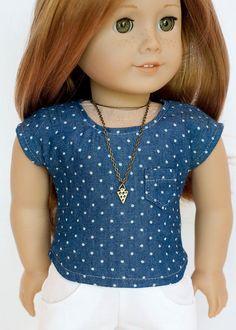 American Girl doll blue polka dot chambray by EverydayDollwear