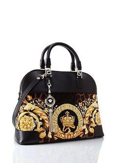 "Bags This beautiful Versace purse is called ""Vanitas"" Athena Velvet Handbag. Versace Purses, Versace Handbags, Versace Bag, Fashion Handbags, Purses And Handbags, Fashion Bags, Leather Handbags, Style Fashion, Beautiful Handbags"