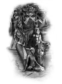 Egypt Tattoo Design, Aztec Tattoo Designs, Tattoo Sleeve Designs, Anubis Tattoo, Christus Tattoo, Cleopatra Tattoo, Egyptian Tattoo Sleeve, Egyptian Goddess Tattoo, African Tattoo