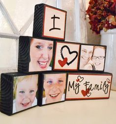 """tutorial and printables (several variations); made from a 2x4, matte finish Mod Podge & laser printed photos; her tip """"spray once, let dry, then """"sand"""" with a brown paper bag. It will get all the fuzzies off, then spray again."""" font used: """"Digs My Heart"""" - a Kevin and Amanda font found here:   http://www.kevinandamanda.com/fonts/freescrapbookfonts/digs-my-hart/"""