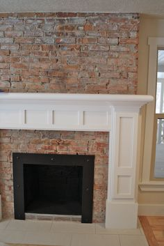 gas fireplace with brick surround Google Search Mantle Decor