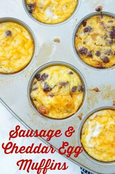 These Sausage and Cheese Egg Muffins are a delicious make ahead breakfast that is perfect for eating on the go or for busy back to school mornings! These egg muffins are even freezer friendly for meal prep cooking! Breakfast On The Go, Breakfast Muffins, Make Ahead Breakfast, Sausage Breakfast, Breakfast Recipes, Muffin Recipes, Breakfast Bites, Brunch Recipes, Keto Recipes