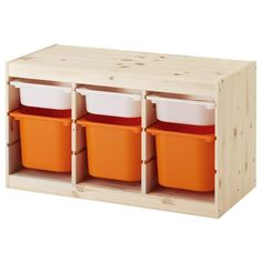 IKEA TROFAST Storage combination with boxes Light white stained pine white/orange 94 x 44 x 52 cm A playful and sturdy storage series for storing and organising toys, sitting, playing and relaxing. Ikea Trofast Storage, Cube Storage, Wall Storage, Toy Storage, Storage Boxes, Storage Ideas, Toy Organizer Ikea, Toy Organization, Lineup