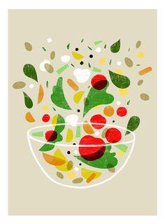 "La verdura print - Vegetable art 11""x15 - archival fine art giclée print"