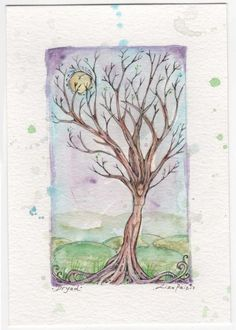 ARTFINDER: Dryad tree goddess original watercolo... by Liza Paizis - This is a beautifully expressive miniature watercolour painting of a Dryad or Tree spirit nature goddess. The painting is surrounded by splashes of watercol...