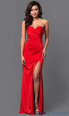 Shop sweetheart gowns and strapless pageant dresses at Simply Dresses. Ball gowns for wedding-receptions and long formal gowns with side slits.