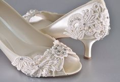 Woman's Low Heel Wedding Shoes- Woman's Vintage Wedding Lace Peep Toe Heels, Women's Bridal Shoes, Wedding Shoes, Women's shoes Bridesmaid by Pink2Blue on Etsy https://www.etsy.com/listing/250352363/womans-low-heel-wedding-shoes-womans                                                                                                                                                                                 More