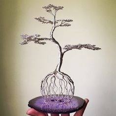 Valentine Red Wire Bonsai Tree on Selenite Sphere Sculpture - For Mental Clarity Coming soon. Wire Art Sculpture, Tree Sculpture, Wire Wrapped Jewelry, Wire Jewelry, Copper Wire Art, Bonsai Wire, Metal Tree Wall Art, Wire Trees, Wire Weaving