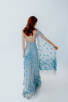 natalie wynn D Flowers, Forget Me Not, Christian Lacroix, Blue Lace, Catwalk, 3 D, Wedding Planning, One Shoulder, Gowns
