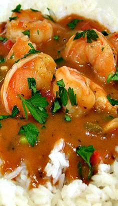 Etouffee Shrimp — A spicy & delicious Cajun stew served on a bed of rice. Creole Recipes, Cajun Recipes, Shrimp Recipes, Cooking Recipes, Crockpot Recipes, Creole Cooking, Cajun Cooking, Cajun Food, Shrimp Dishes