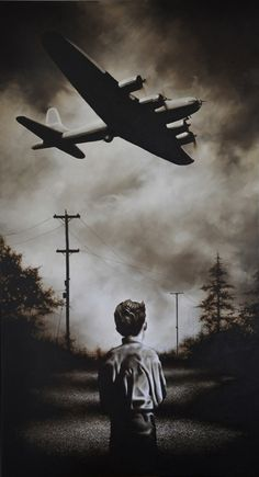 My father told me a story of his childhood in Edinburgh, watching a German fighter fly overhead going into the sea, the pilot dead at the wheel, his blood dripping onto the pavement beside the teenaged boy. It must have been a similar image.