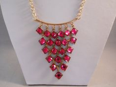 Bib Necklace with Deep Pink Crystal Bead Pendant on by  maryannsway on etsy