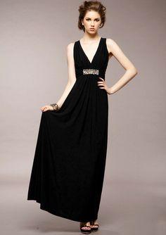 Black Deep V Neck Backless Rhinestone Dress - Fashion Clothing, Latest Street Fashion At Abaday.com