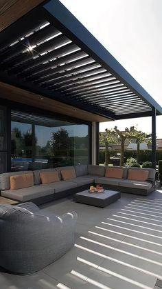 Diy Pergola, Pergola With Roof, Pergola Ideas, Patio Ideas, Modern Pergola, Lanai Ideas, Iron Pergola, Corner Pergola, Pergola Plans