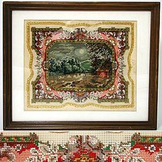 Antique Victorian Beaded Punchwork Needlepoint Tapestry - Found on Ruby Lane