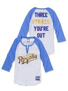 Kansas City Royals Henley Baseball Tee - Victoria's Secret Pink® - Victoria's Secret