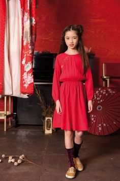 East meets west in this rich red moss crepe girls party dress with embroidered bodice detail. The gently elasticated waist, raglan sleeve A line skirt make it a relaxed and modern take on a traditional Chinese party dress style. Girls Party Dress, Girls Dresses, Chinese Party, Block Dress, Kids Branding, Punk Fashion, A Line Skirts, Cold Shoulder Dress, Oriental