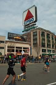 Marathon Monday, Boston Marathon, Boston Citgo Sign, One Mile to Go! Boston MA.
