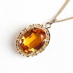 Sale - Simulated Citrine Necklace - Vintage 12k Rosy Yellow Gold Filled Pendant - 1940s Orange Glass Filigree November Birthstone Jewelry by Maejean Vintage on Etsy
