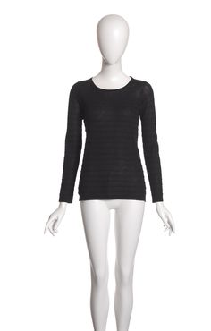 Astrid | Textured stripe sailor top | Egyptian Mako Cotton - Crepe Artic #cavadesoi #cvds #knitwear #fashion #style #cotton #crepe #black #top #summer #sheer // August