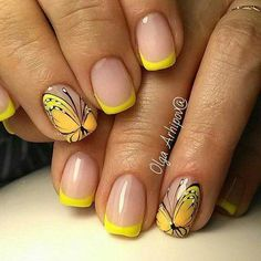 French Nail Art designs are minimal yet stylish Nail designs for short as well as long Nails. Here are the best french manicure ideas, which are gorgeous. French Pedicure, Gel Nails French, French Nail Art, Yellow Nails Design, Yellow Nail Art, French Tip Nail Designs, Nail Art Designs, Pedicure Designs, Butterfly Nail Art