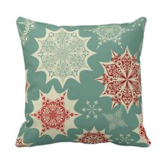 Red snowflakes on a green background pillow $30.95 per pillow