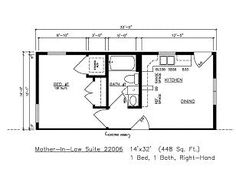 600 square foot In-law Apartment floor plan. | In Law Apartment ...