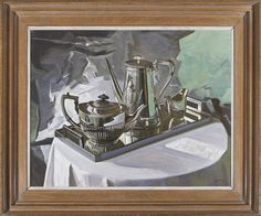 Stephen Rose (1960- ), Silver service (2012), oil on canvas, 54.3 x 69.9 cm. Reproduction 17th century cabinetmaker's frame in stained & polished oak