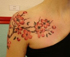 Creative Cherry Blossom Tattoo on Shoulder