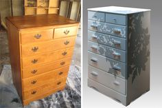 Some people can do this better than others... Jason at Purpose Restoration has a pretty cool take on the 'painting + stencil' trend for refinishing old furniture.