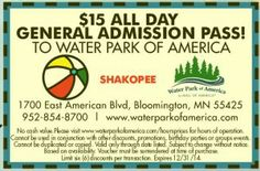 $15 All Day Pass Coupon at Water Park Of America (MN)