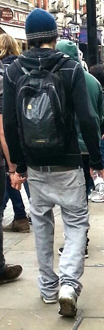 Colin from behind when walking to the theater – Mojo 2013-2014. Sagging pants fashion!!! Don't approve!