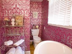 Love the idea of Victorian design wallpaper for a powder room - Traditional Bathrooms from Drew and Jonathan Scott
