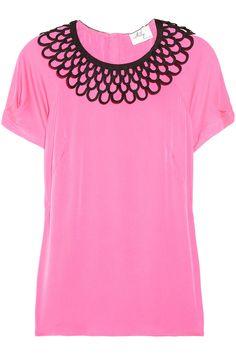 Milly|Linde woven-collar brushed silk-blend topNET-A-PORTER.COM