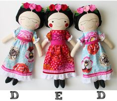 Frida Kahlo handmade dolls. Made to order. Rag doll to by blita