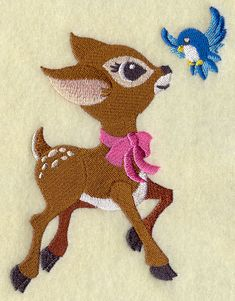 Machine Embroidery Designs at Embroidery Library! - Frolicking Deer and Bluebird